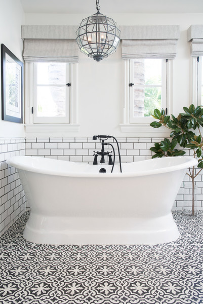 Patterned Tile Trend - Bathroom tile patterns black and white