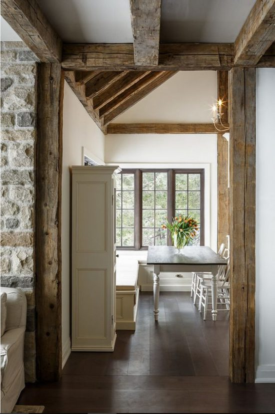 stone cottage with rustic beams