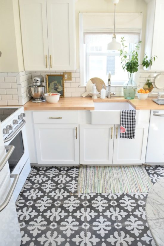 Patterned tile trend for White floor tile kitchen