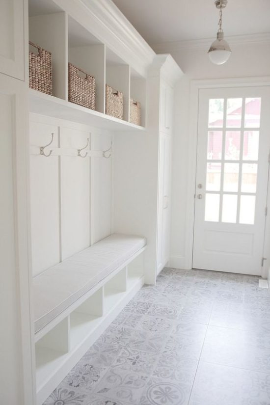 Patterned Tile Flooring mudroom/foyer