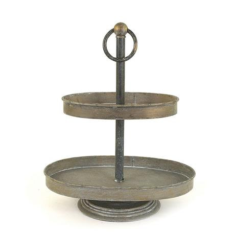 two-tiered metal tray