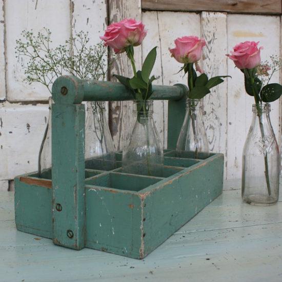 Vintage Wooden Bottle Carrier Farmhouse Gift ideas