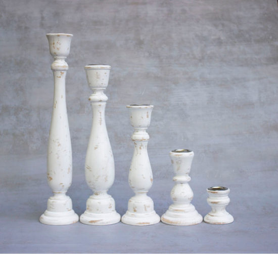 Weathered White Wooden Candlesticks