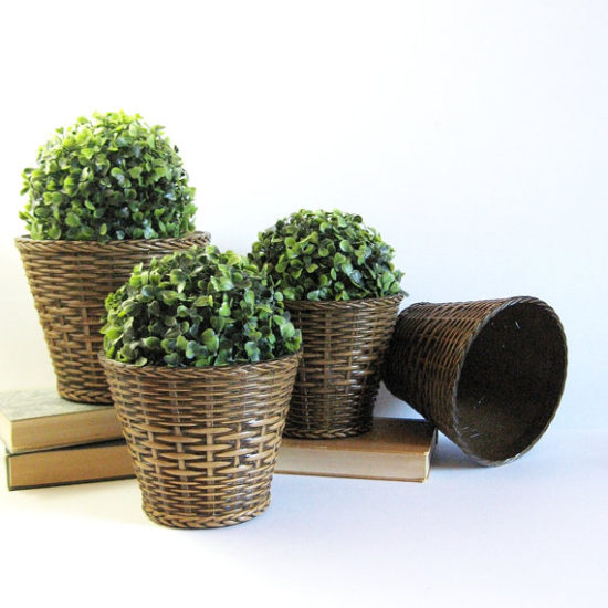 wicker planter pots