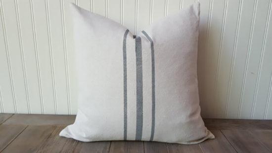 Gray Grain Sack Pillow - Farmhouse Decorating Gift Ideas Etsy