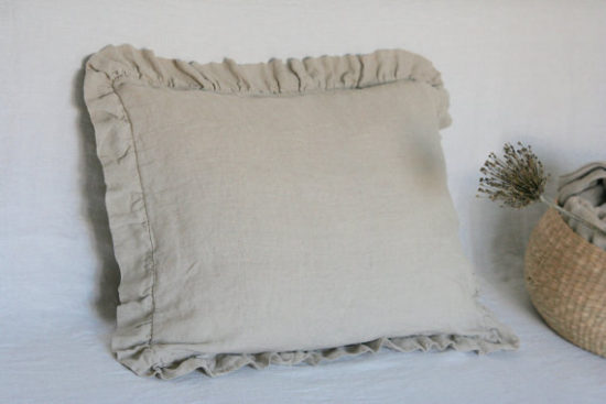 Farmhouse Ruffled Linen Pillow Cover