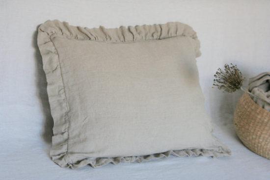 Farmhouse Ruffled Linen Pillow Cover