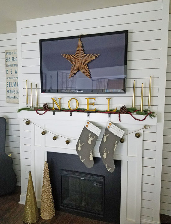 Farmhouse Christmas Hone Tour -Christmas Mantel the Honeycomb Home