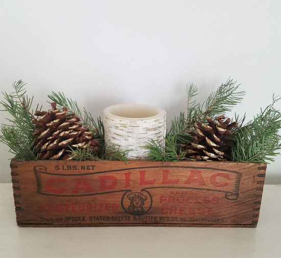 Rustic Box with fresh greenery