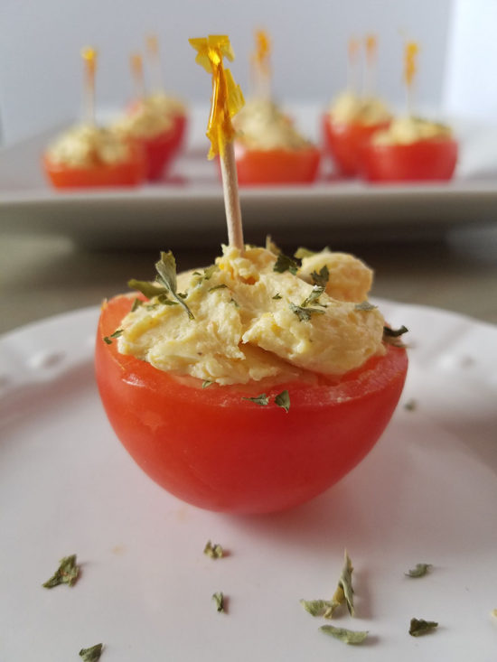 Cheddar Stuffed Cherry Tomatoes Appetizer Recipe