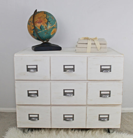 3-drawer ikea chest turned into a diy card catalog