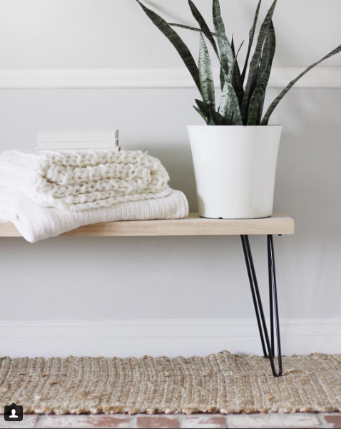 DIY Bench with Hairpin legs from Halfway Wholeistic