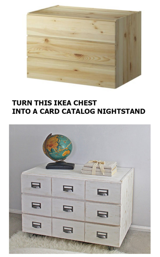 Turn this IKEA 3 Drawer chest into a card catalog nightstand!