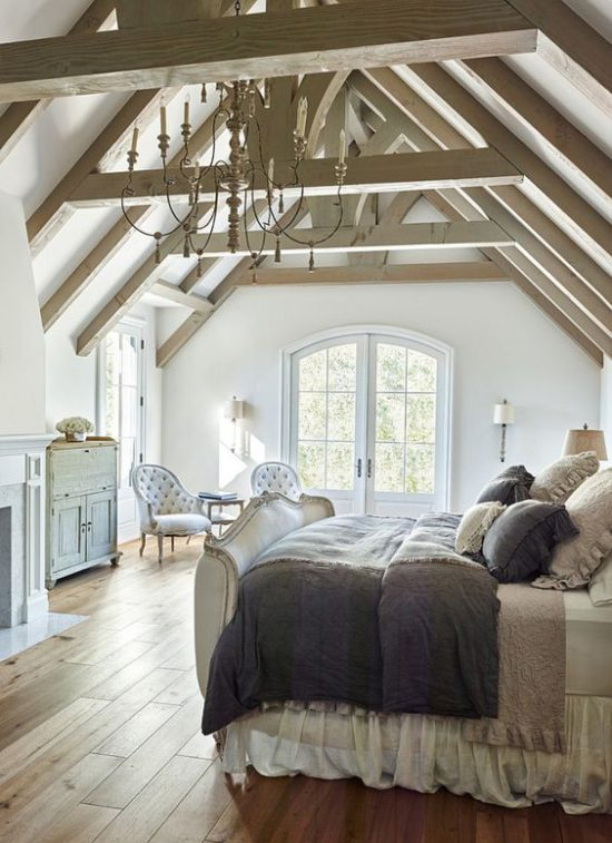 amazing bedroom with wood beams