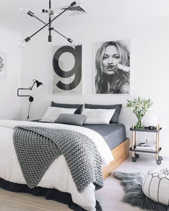 bedroom with fun artwork