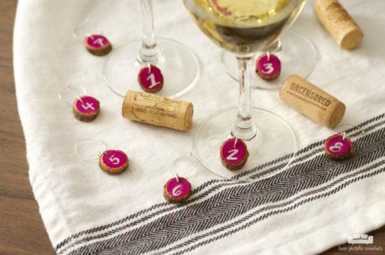 easy-diy-wine-charms-rustic-wood-slices-craft two purple couches