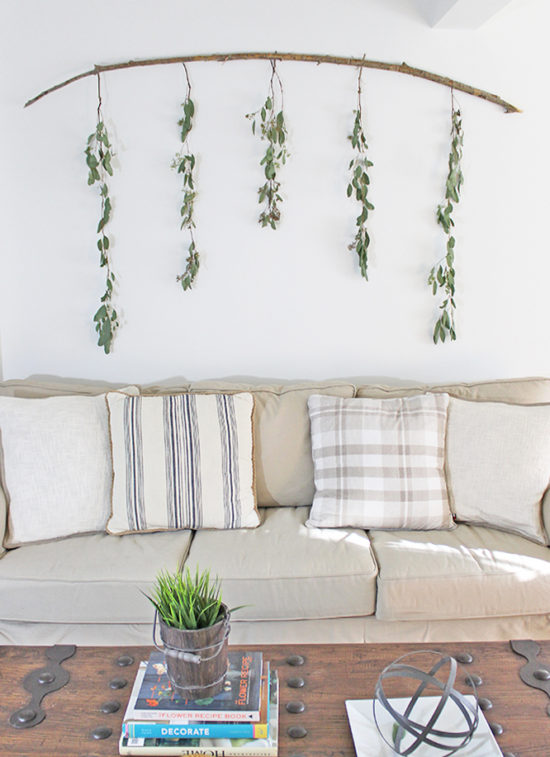 DIY Budget Friendly Wall Decor Branch and Eucalyptus