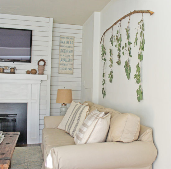 DIY Wall Art Branch with Eucalyptus