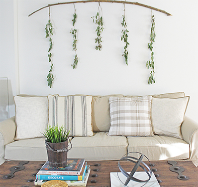 Diy wall decor eucalyptus branch for Decorating living room walls on a budget