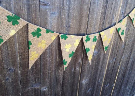 St. Patricks Day decor shamrock and burlap banner