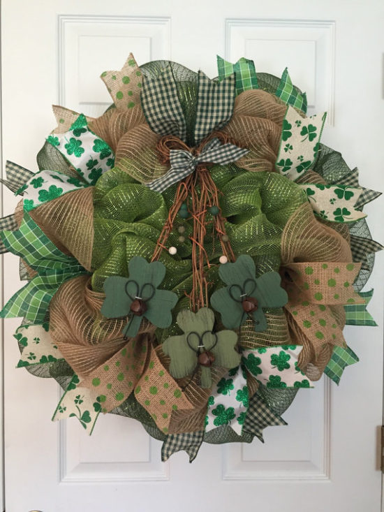 St Patrick's day decor burlap wreath