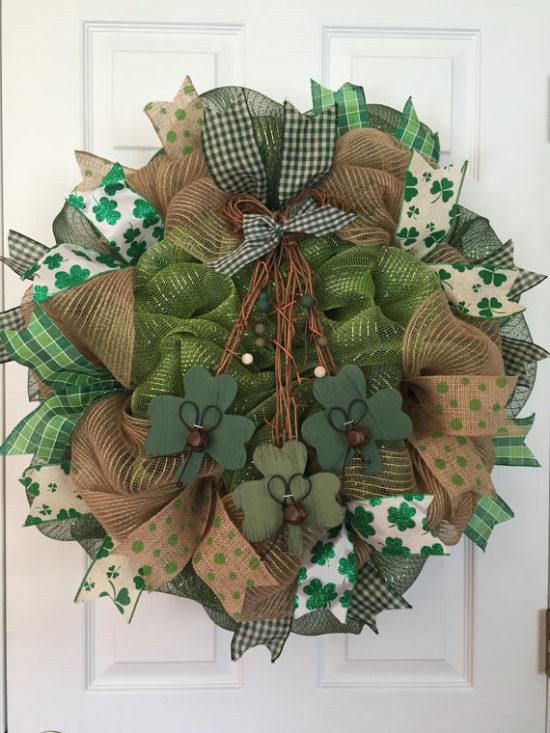 St Patrick's day decor burlap wreath