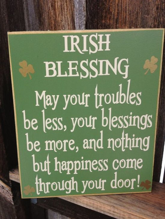 st patricks day blessing wood sign