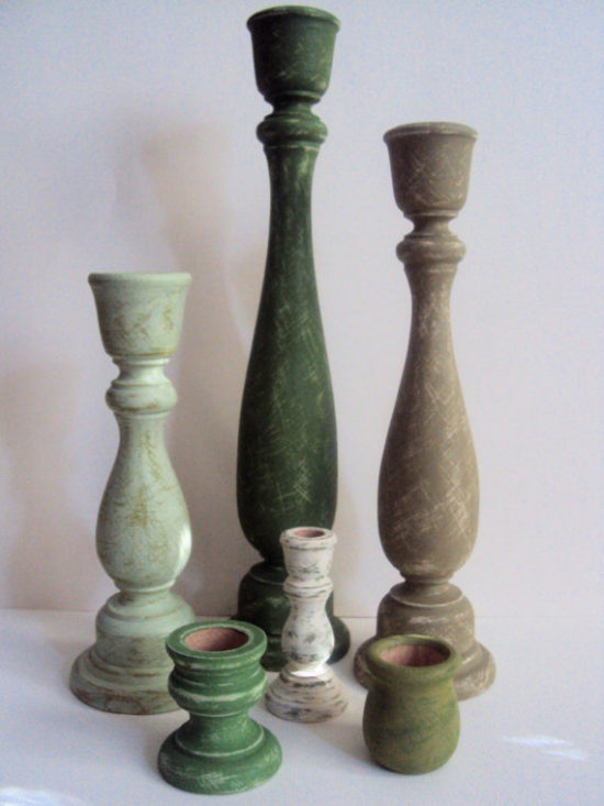 green rustic candlesticks St patricks day