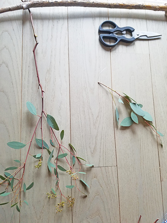 Diy wall decor eucalyptus branch Decorate a large wall cheaply