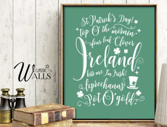 St Patricks day decor download printable