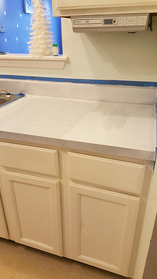 white limestone countertop paint