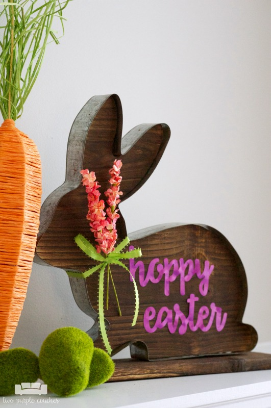 Easter-decor-idea-rustic-bunny-sign two purple couches
