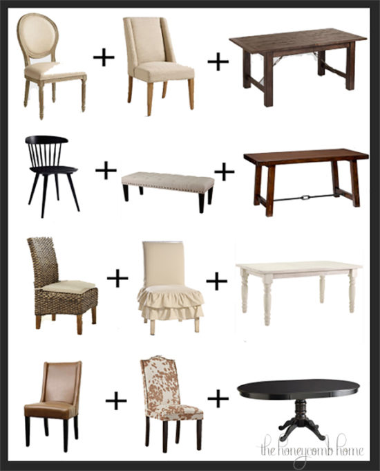 Mix and Match Dining Tables and Chairs the honeycomb home