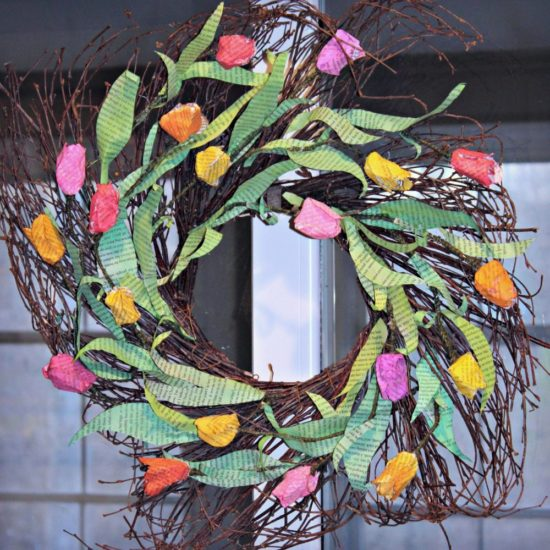 spring book page wreath