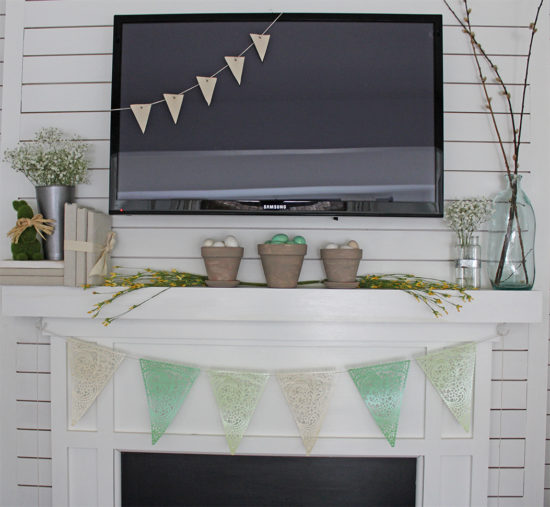 Spring decorating Spring mantel shiplap fireplace wall