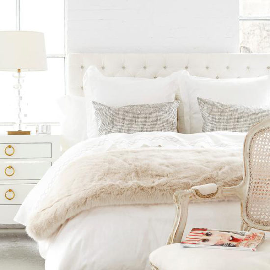 beautiful neutral bedding