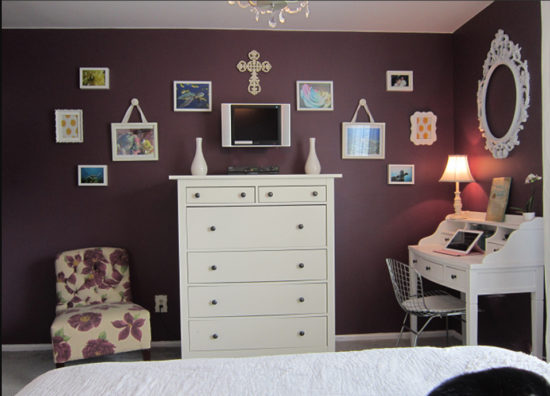 dark purple bedroom before makeover