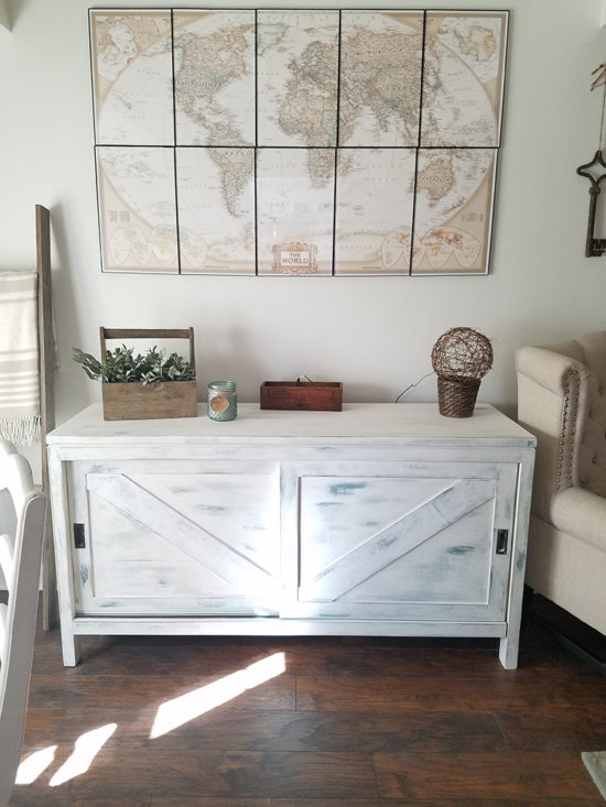 farmhouse sideboard layered paint distressed