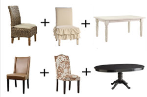 mix and match dining tables and chairs