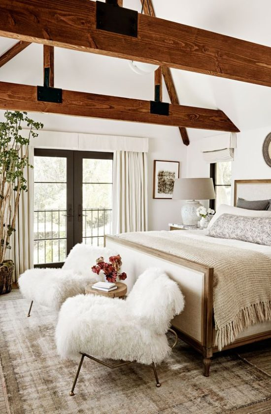neutral warm white bedroom