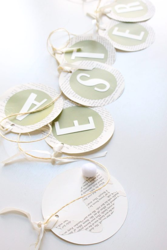 spring bookpage garland diy my life from home