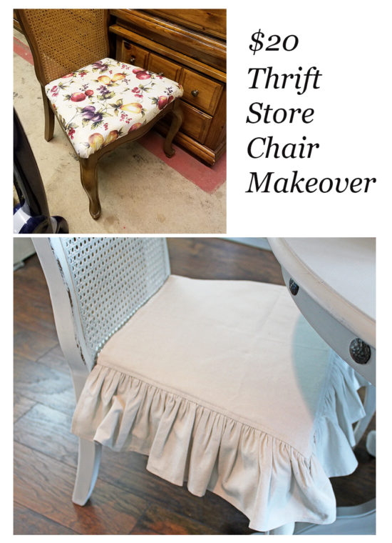 $20 Thrift store chair makeover with ruffled dropcloth cushion cover.