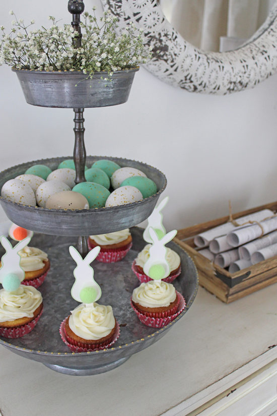Easter Cupcakes, galvanized 3-tiered tray