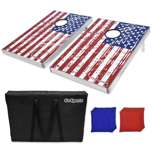 American flag cornhole beanbag toss game with carrying bag