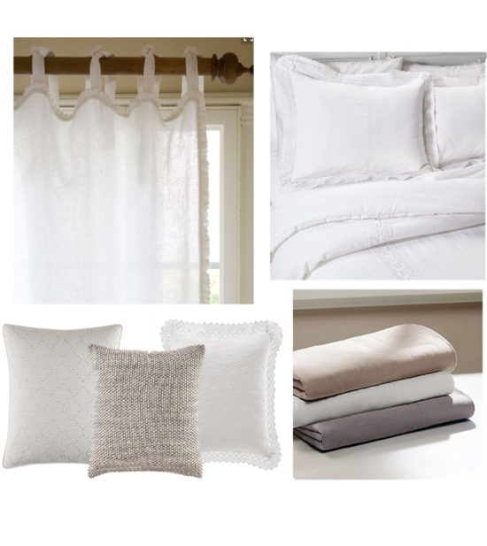 Netural Linen and white bedding the honeycomb home