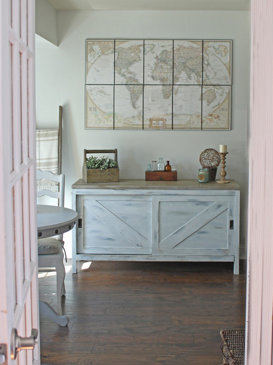 Vintage Sideboard Furniture Makeover Barn Doors Framed Map prints