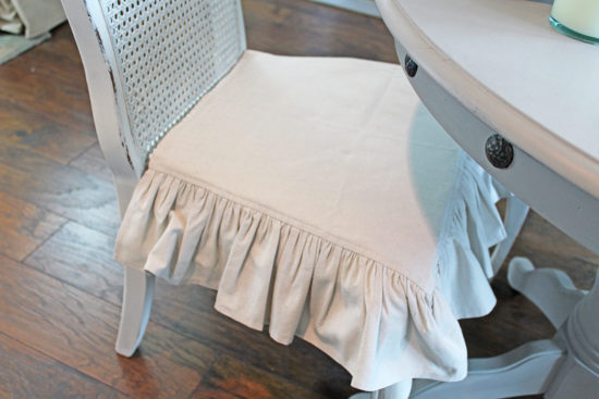 Thrift store cane back chair makeover ruffled dropcloth chair cushion