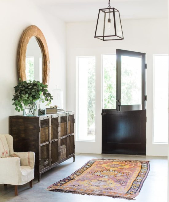 Heather Bullard Entry way dutch door Kilim rugs