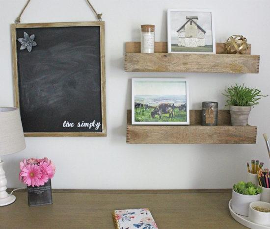 bedroom makeover rustic shelves over desk, how to hang art over a desk