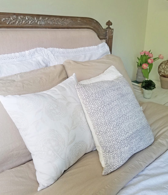 Bedroom Makeover, get the look of linen bedding for less!